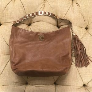 Tory Burch Brown leather Louisa hobo w gold chain